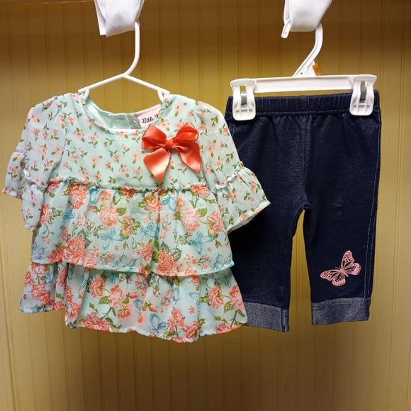 Baby Girl Little Lass  2-piece Shirt & Capri Set